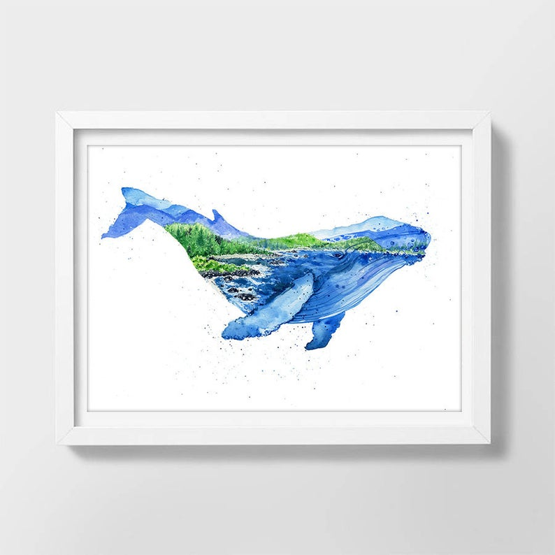 """Humphrey the Humpback"" Whale Watercolour Print"