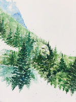 "Load image into Gallery viewer, ""The Eagle"" Double Exposure Forest & Lake Original Watercolour Painting 11""x15"""