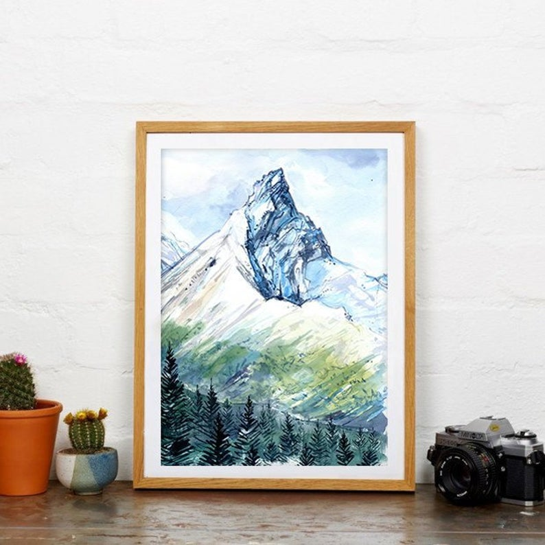 """Ice Fields"" Banff Watercolour Print"