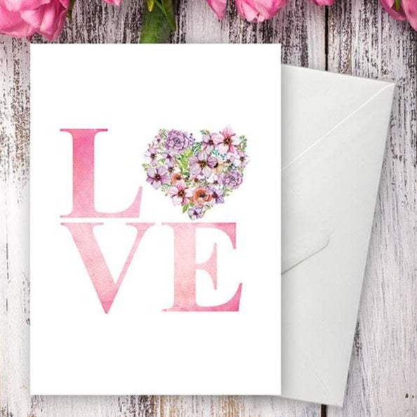 Floral Watercolour LOVE Heart Greetings Card