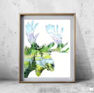 """Mighty""Moose Watercolour Print"