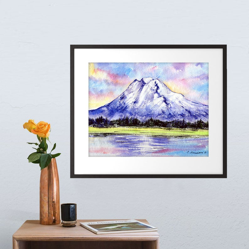 """Mt Adams"" Pahto Watercolour Print"