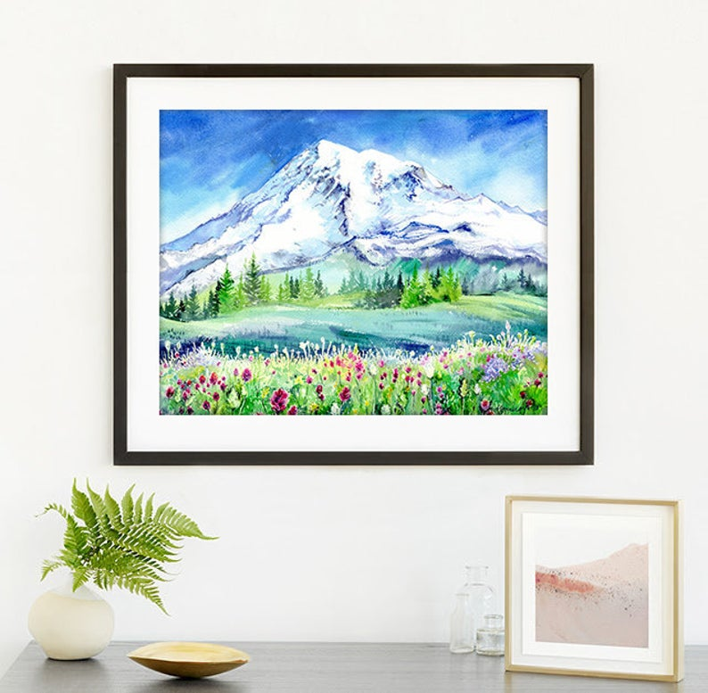 """Mt Rainier"" Tacoma Washington Watercolour Print"