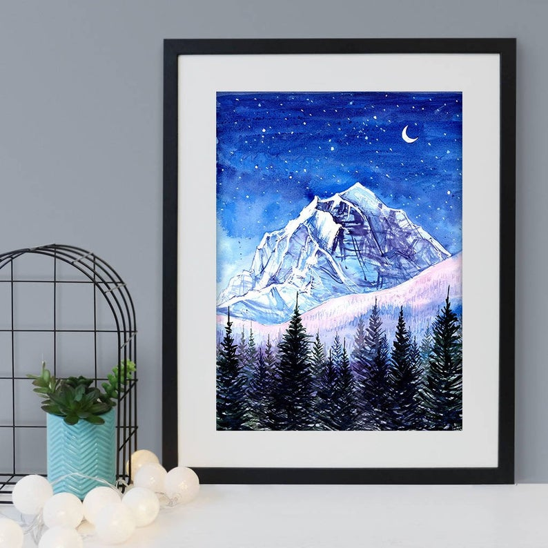 """Night Edges"" Banff Watercolour Print"