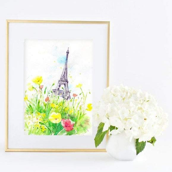 Sunny Day in Paris Watercolour Print