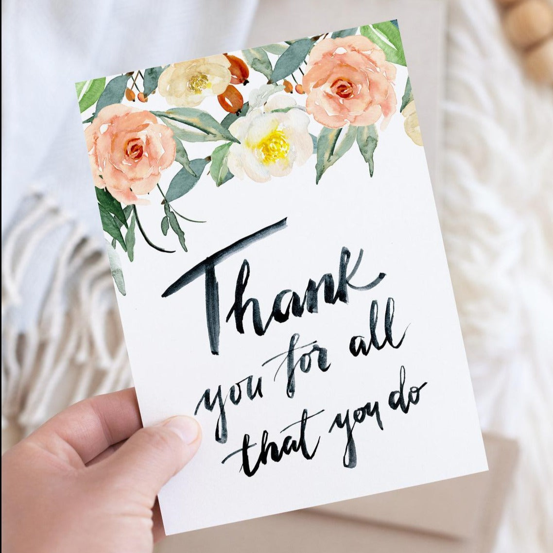 Thank you for all that you do Floral Watercolour Greetings Card
