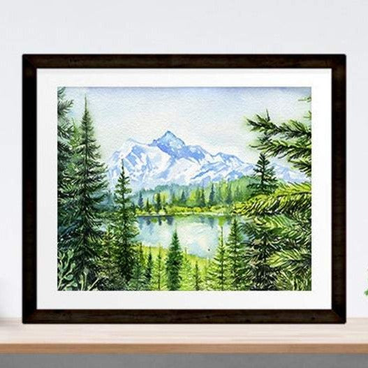 "Products ""The Peak"" Garibaldi Park Watercolour Print"