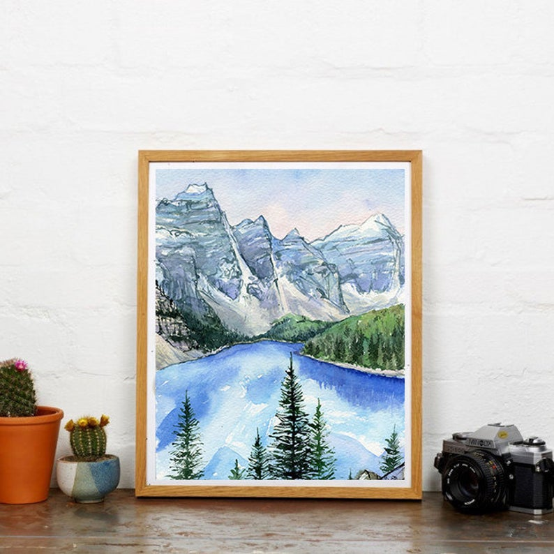 """The Rockies"" Banff Watercolour Print"