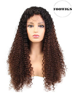 YOOWIGS Royal Film HD Lace Ombre Curly 360 Lace Frontal Human Hair Wigs Bleached Knots with Baby Hair
