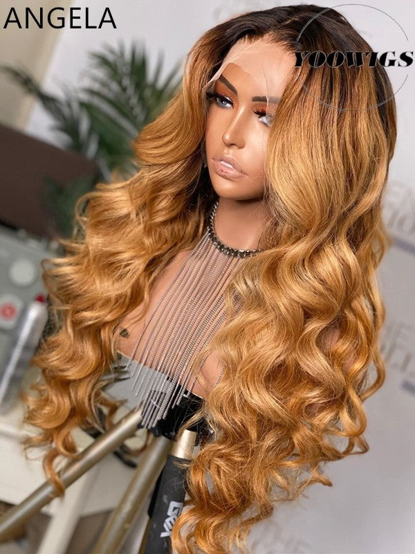 YOOWIGS 2020 New Fashion HD Film Lace Wigs Grade 12A Natural Wave Glueless Human Hair Wigs Highlight Hot Style Undetectable Preplucked Wigs