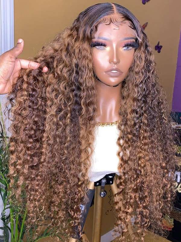YOOWIGS Highlight Color #4/#27 Mix Beauty Human Hair Wigs Deep Curly Free Part 13x6 HD Lace Closure Wigs Bleached Knot with Baby Hair