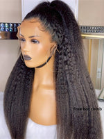 YOOWIGS 2021 Kinky Straight Flash Sale Grade 12A Kinky Straight Indian Virgin Remy Swiss Lace Frontal Wigs Best Natural Huan Hair Lace Wigs