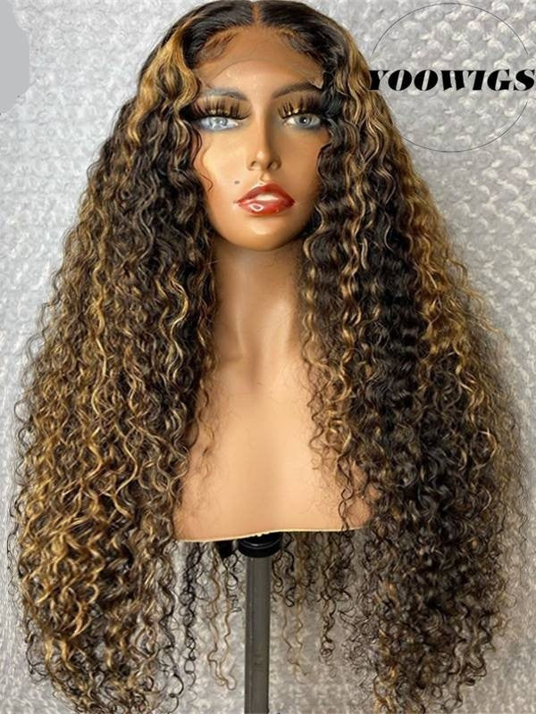 YOOWIGS HD Film Full Lace Wigs Glueless Deep Curly Full Lace Human Hair Wigs Ombre Brown Color Wig Pre Plucked Natural Hairline With Baby Hair