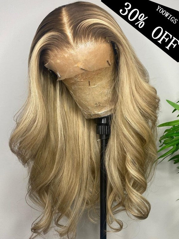 YOOWIGS Grade 12A Body Wave Undetectable Single Knots Royal Film HD Lace Wigs 30% Off Middle Part 100% Human Hair Lace Front Wigs