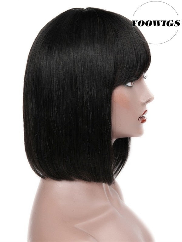 YOOWIGS Royal Film HD Lace Front Human Hair Wigs with Baby Hair Short Bob with Bangs Brazilian Remy Hair Pre Plucked Hairline Bleached Knots