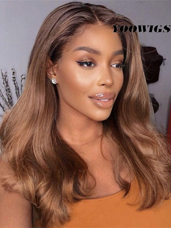 YOOWIGS Royal Film HD Lace 13X6.5 Inch Glueless Natural Wave Lace Front Wig 180% Density Brazilian Body Wave Human Hair Front Lace Wig for Black Women LJ001