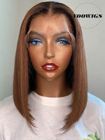 YOOWIGS Royal Film HD Lace Ombre Brown Bob 13x6.5 Lace Front Human Hair Wigs Bleached Invisible Knots Glueless Wig