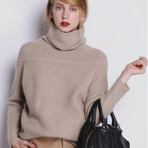 BELIARST New Autumn and Winter Cashmere Sweater Women's High Collar Thick Solid Color Sweater Loose Knit Sweater Wild Pullover