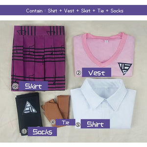 New Danganronpa Anime COSPLAY costumes Akamatsu kaede costume Women's uniform Shirt / Vest / skirt / socks/Wig JK school uniform