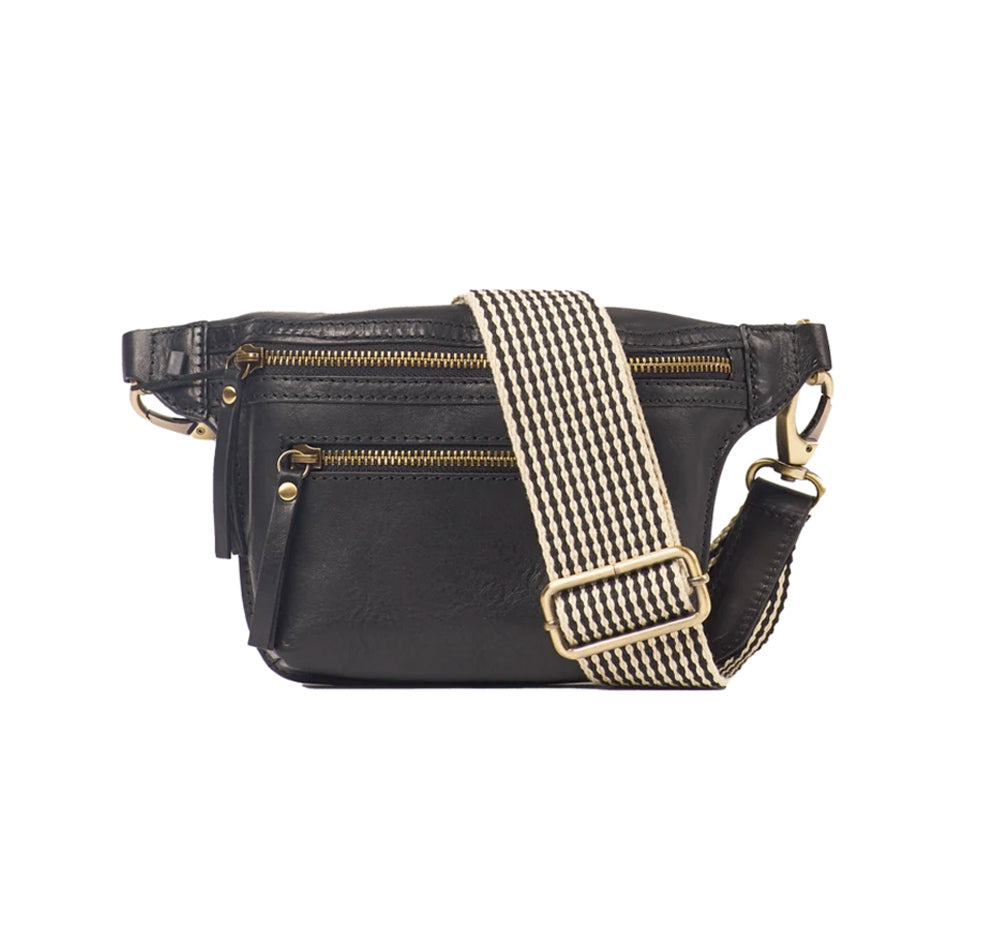 O MY BAG Beck´s Bum Bag Black Stromboli Leather