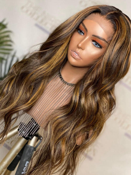 Chinalacewig 150% Density Highlight Color HD Lace Lace Front Body Wave Hair Wig CF535