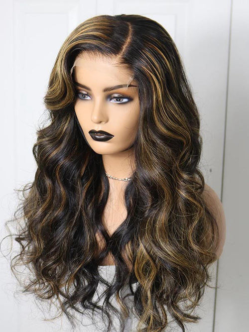 Chinalacewig 180% Density Highlight Color Body Wave Glueless Full HD Lace Wig CF433