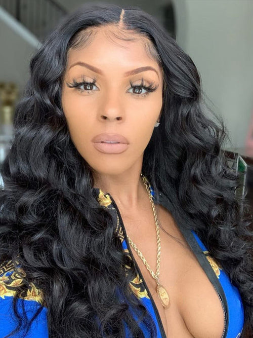 Chinalacewig Best Virgin Hair Loose Wave Black Color 360 HD Lace Frontal Wigs CF107