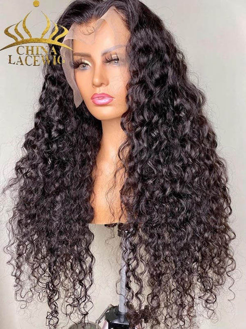 Chinalacewig Best Virgin Human Hair Deep Wave 360 HD Lace Wigs With Baby Hair CF228