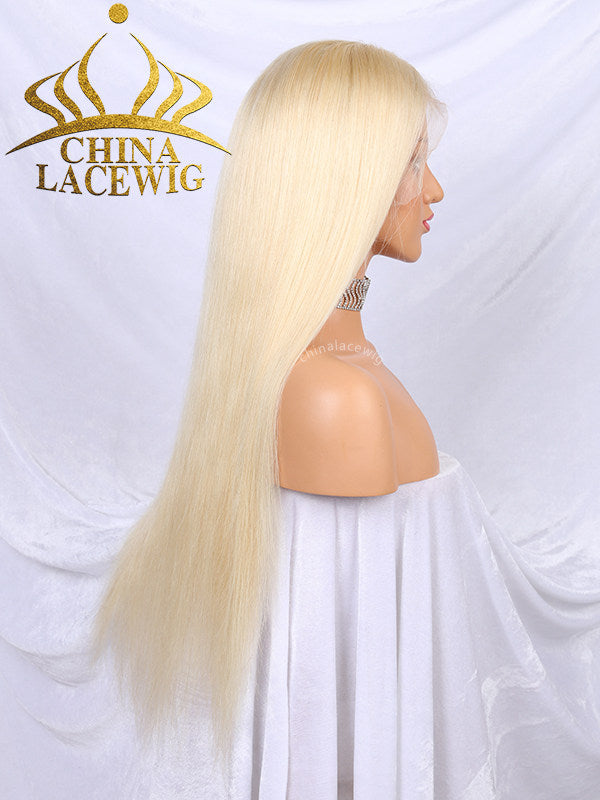 Chinalacewig Brazilian Hair #613A White Blonde Color Glueless Lace Front Wig CF017