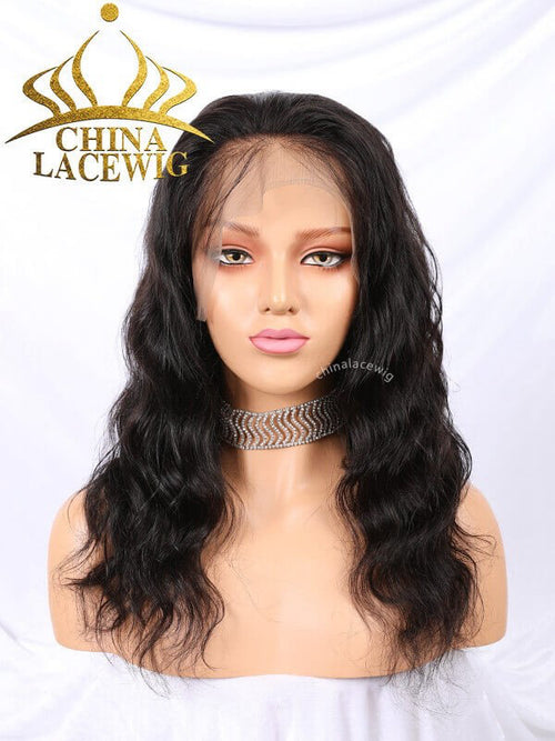 Chinalacewig Custom Color Brazilian Virgin Human Hair Body Wave Full Lace Wig CF409