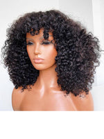 Chinalacewig Glueless Full HD Lace Kinky Curly Bob Human Hair With Bangs NCF35