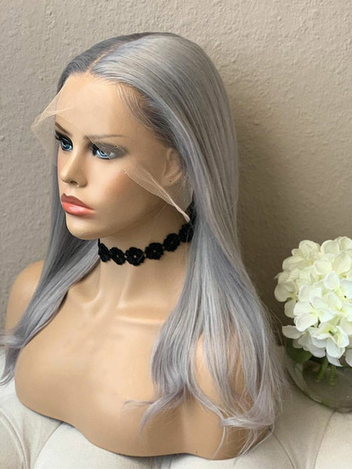 Chinalacewig Glueless HD Lace Grey Color Brazilian Virgin Human Hair Wig With Preplucked Hairline NCF72