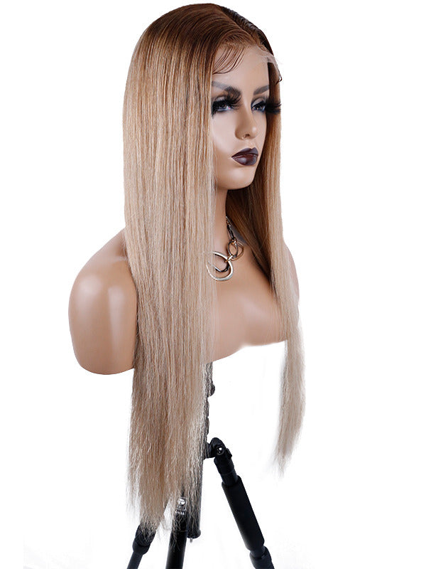 Chinalacewig Glueless HD Lace Lace Front T-Part Color Silky Straight Human Hair Wig CLW02