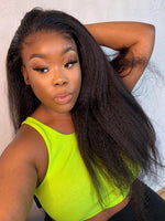 Chinalacewig Glueless Kinky Straight Full HD Lace Wig Human Hair With Bleached Knots CF341