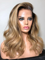 Ombre Blonde Color 360 HD Lace Wigs Virgin Human Hair With Bleached Knots CF318