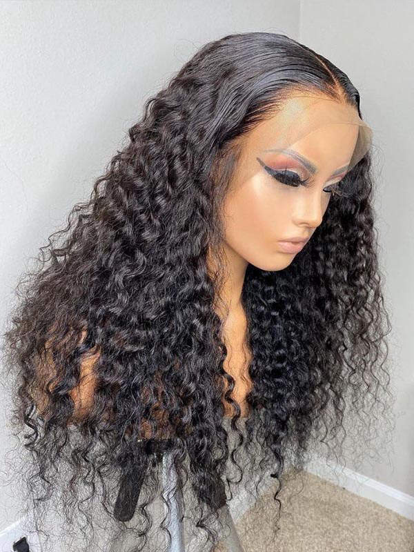 Chinalacewig Preplucked Brazilian Virgin Human Hair Deep Wave Full HD Lace Wig CF219