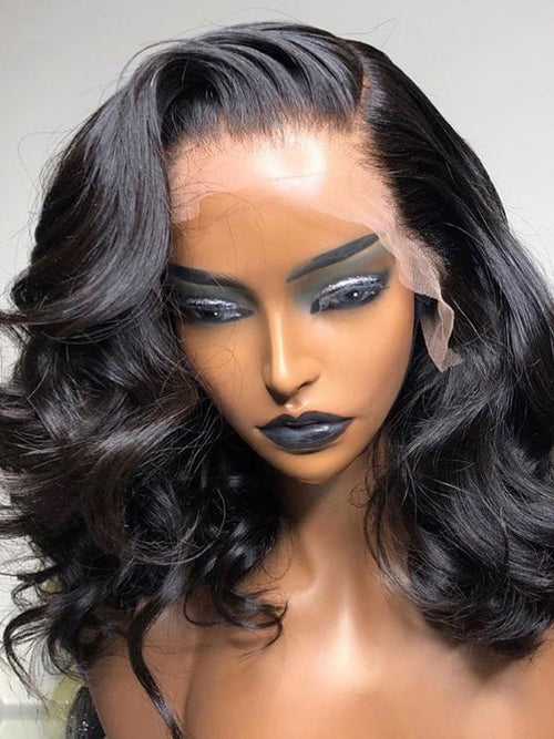 Chinalacewig Summer Invisible HD Lace 360 Lace Frontal Wigs Natural Wave Short Wigs CF250
