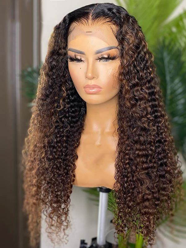 Chinalacewig Undetectable HD Lace Highlight Color 150% Curly 13x6 Lace Front Wigs CF313