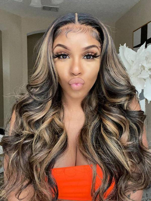 Chinalacewig Undetectable HD Lace Highlight Color Body Wave 13X4 Lace Front Human Hair Wigs CF020