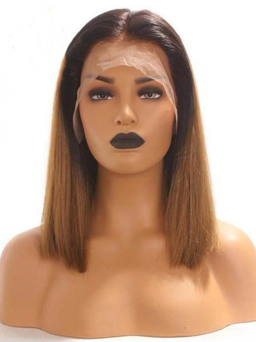 Chinalacewig Undetectable HD Lace Straight Bob Ombre Color 13x6 Lace Front Wigs CF117 (2)