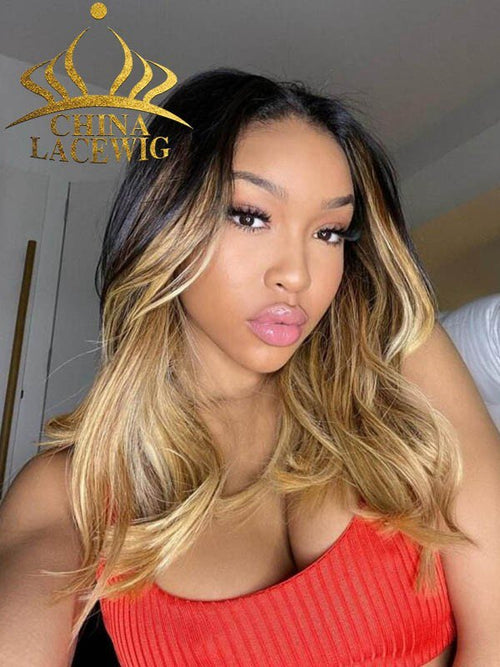 Chinalacewig Undetectable HD Lace Wig Ombre Color Body Wave Lace Frort Wigs CF226