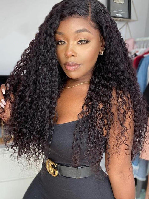 Chinalacewig Undetectable Lace Virgin Human Hair Deep Curly 360 Lace Frontal Wig CF106