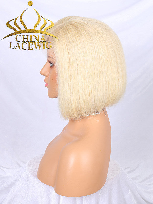 Chinalacewig #613 Blonde Color Hair Brazilian Human Hair Straight Short Bob Lace Front Wig NCF36