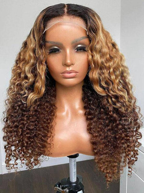 chinalacewig Undetectable HD Lace Ombre Color Deep Curly Lace Front Human Hair Wigs CF472