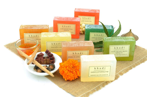 Assorted Natural Handmade Soaps - India's Traditional (Pack of 8) with ingredients