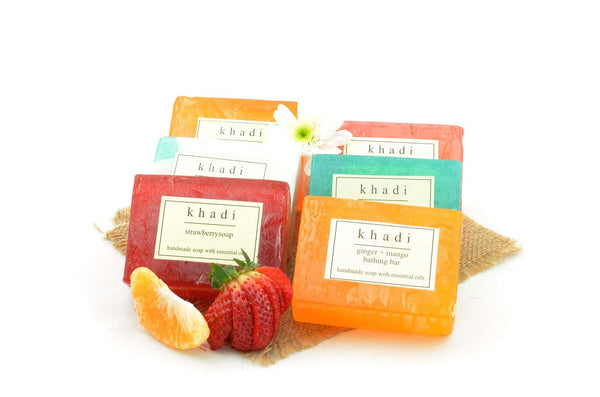 Assorted Natural Handmade Soaps - Indian Fruit Nourishment (Pack of 6) with ingredients