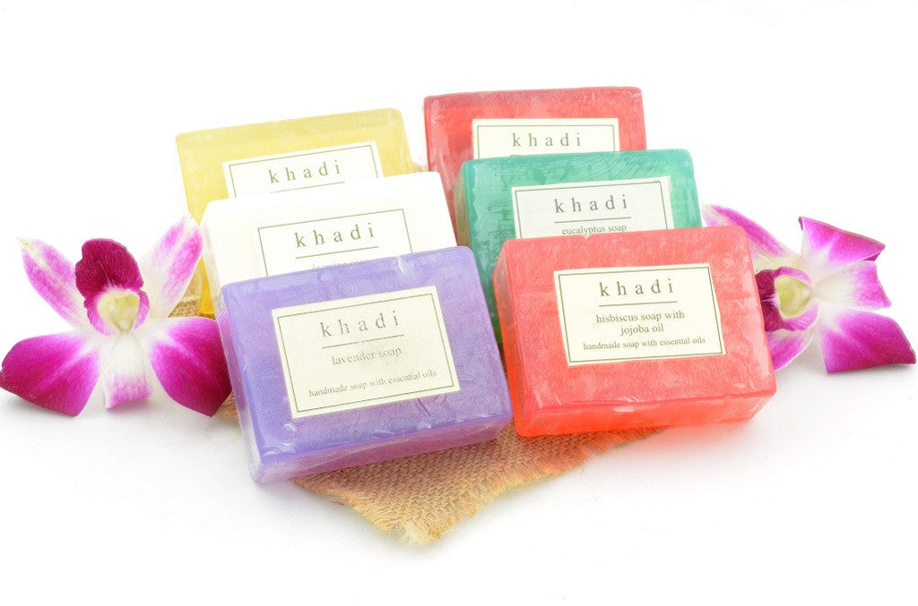 Assorted Natural Handmade Soaps - Indian Rejuvenation (Pack of 6) with ingredients
