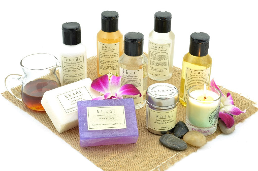 Complete Herbal Skin Care Kit of Scrub, Oils, Soaps & Shampoo with ingredients