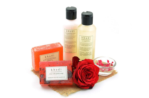 Great Indian Rose Nourishment Natural Skin & Hair Care Kit with ingredients