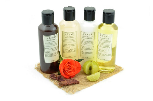 Natural Anti Dryness Solution Kit of Hair Oil, Shampoo & Conditioner with ingredients